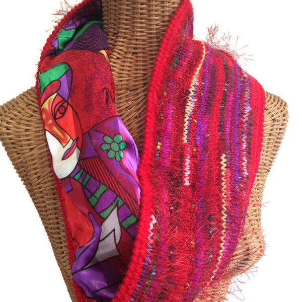 Reversible Cowl Abstract Print Red - Buttermilk Cottage - 2