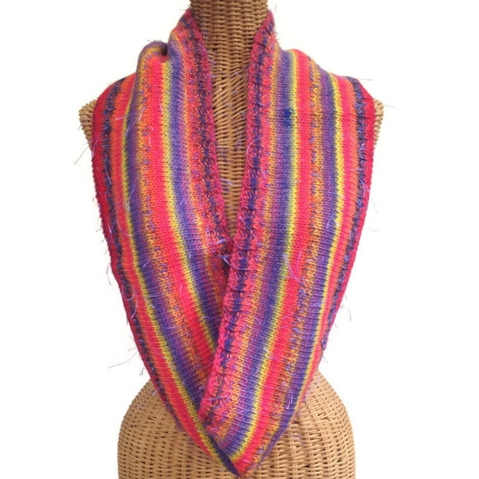 Infinity Striped Scarf Wool Pink Lavender Yellow - Buttermilk Cottage - 1