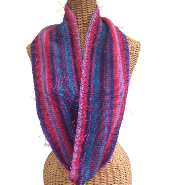 Infinity Striped Scarf Plum Teal Purple Wool - Buttermilk Cottage