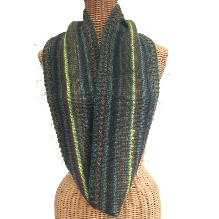 Infinity Striped Scarf Wool Olive Brown Teal Lime - Buttermilk Cottage - 1
