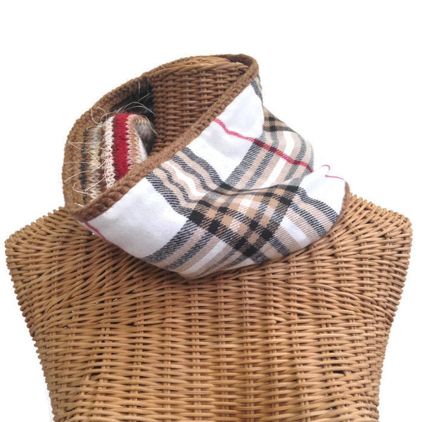 Reversible Cowl Plaid Cashmere - Buttermilk Cottage