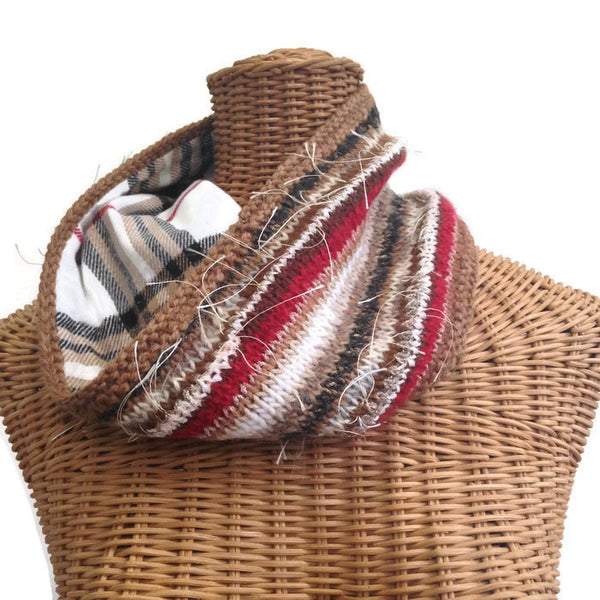 Reversible Cowl Plaid Cashmere - Buttermilk Cottage - 1