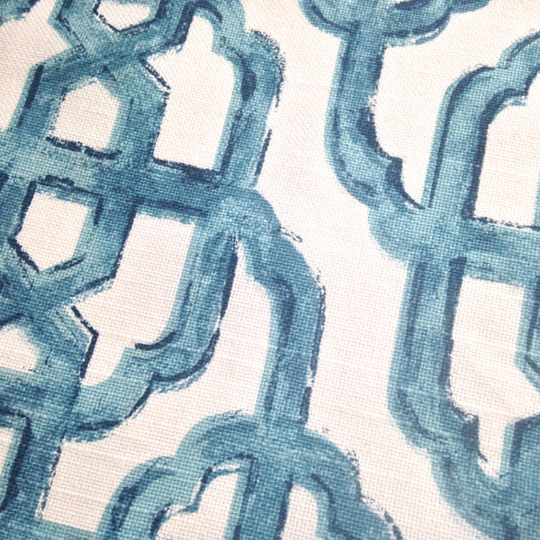 Fabric Blue White Fretwork Screen Print Woven - Buttermilk Cottage - 1