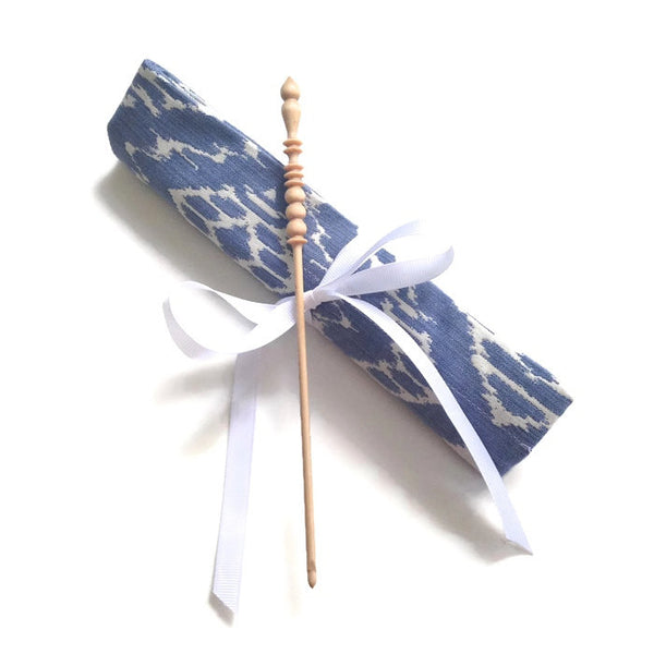 Crochet Hooks for Knitters Blue Woven Ikat - Buttermilk Cottage - 1