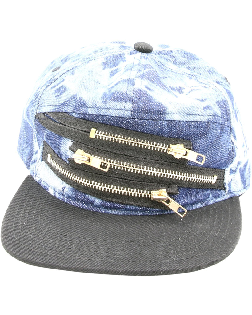 VIM Acid Wash Zipper Snap-Back Cap - Blue - Vim.com