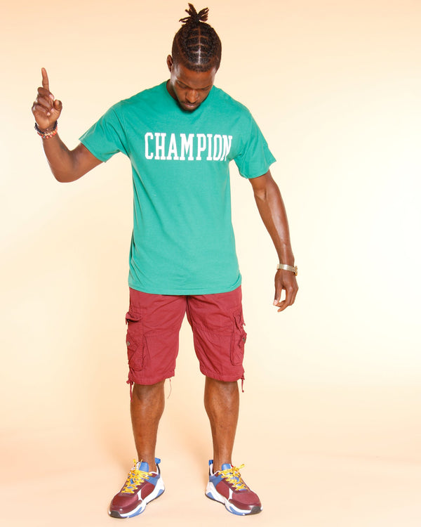 CHAMPION-Men's Champion Full Block Tee - Kelly Green-VIM.COM