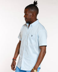 U.S. POLO ASSN. Solid 1 Pocket Woven Shirt - Blue - Vim.com