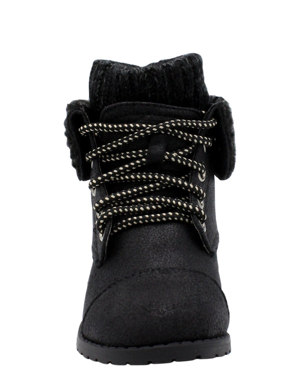 VIM Girls Lace Up Sweater Top Booties - Black - Vim.com