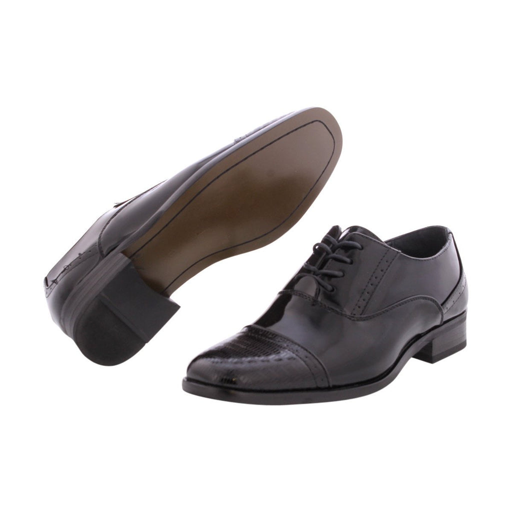 ALBERTO FELLINI Men'S Patent Toe Cap   Dress Shoes - Black - Vim.com
