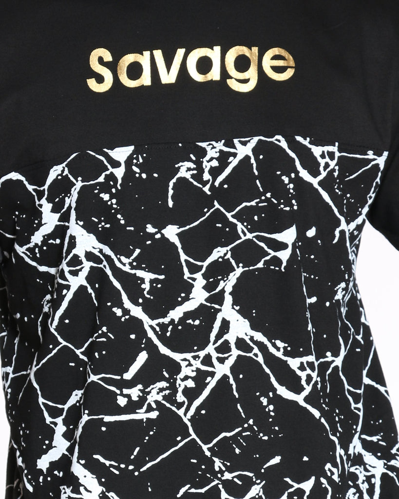 VIM Savage Crackle Printed Tee - Black - Vim.com