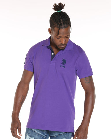 U.S. POLO ASSN. Us Polo Slim Fit Stripe Collar Shirt - Purple - Vim.com