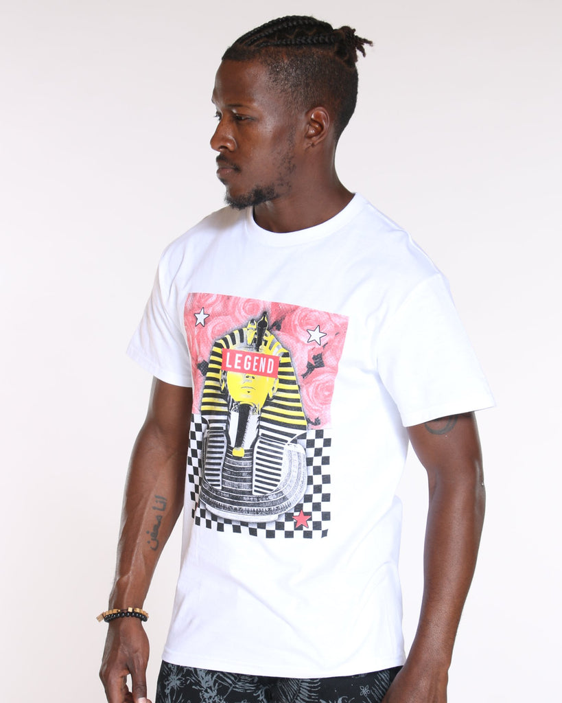 VIM King Tut Savage Roses & Checkers Tee - White - Vim.com
