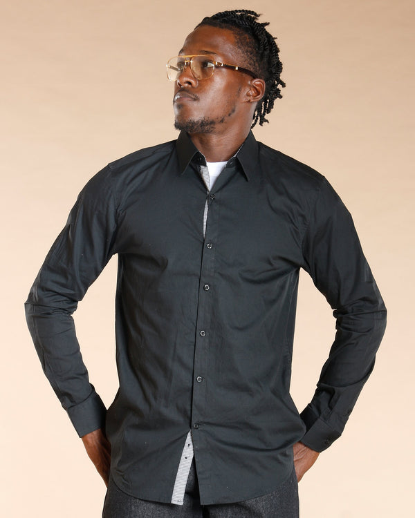 VIM Button Down Long Sleeve Shirt - Black - Vim.com