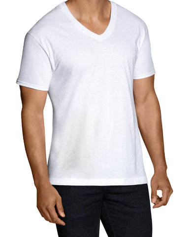 FRUIT OF THE LOOM-V-Neck T-Shirt - White-VIM.COM