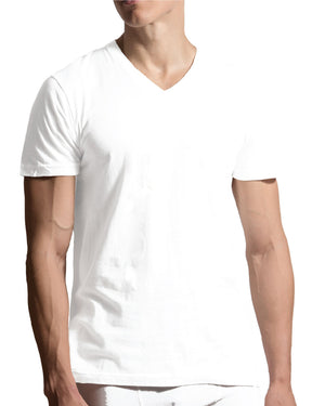5 Pack V-Neck T-Shirts - White-VIM.COM