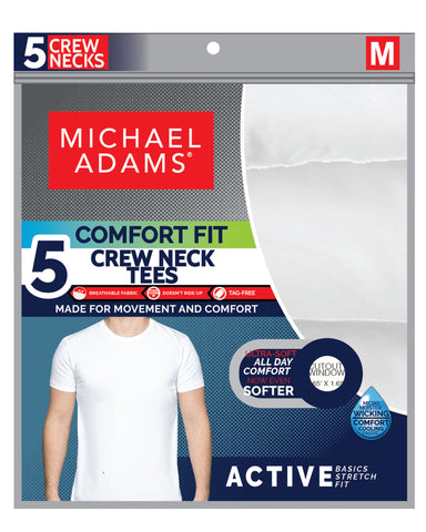 5 Pack Crew Neck T-Shirts - White-VIM.COM