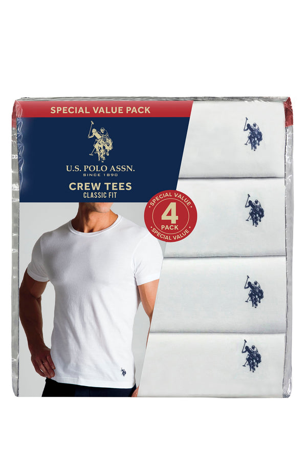 4 Pack Crew Neck Shirt - White