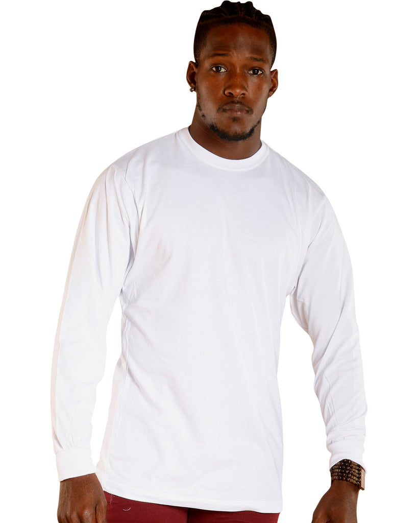 VIM Solid Crew Neck Long Sleeve Tee - White - Vim.com
