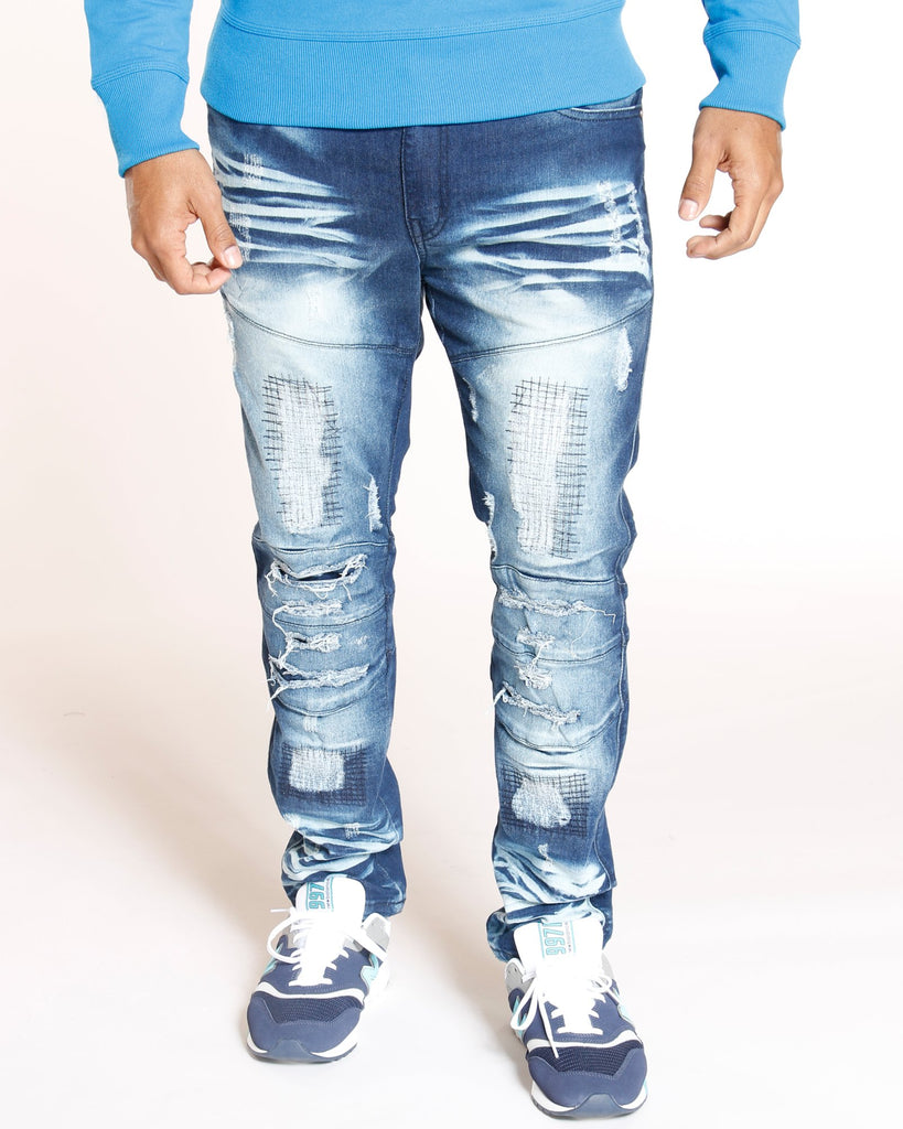 VIM Rips & Embroidered Patches Skinny Fit Jeans - Grey - Vim.com