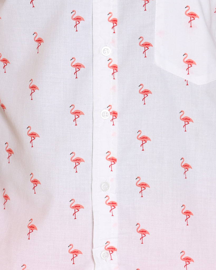 VIM Flamingoes Printed Shirt - White - Vim.com