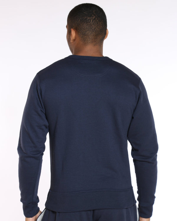 CHAMPION Champion Box Logo Fleece Crew Sweater - Navy - Vim.com
