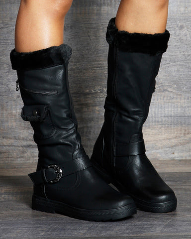VIM VIXEN Avery Side Zipper Buckle Cold Boot - ShopVimVixen.com
