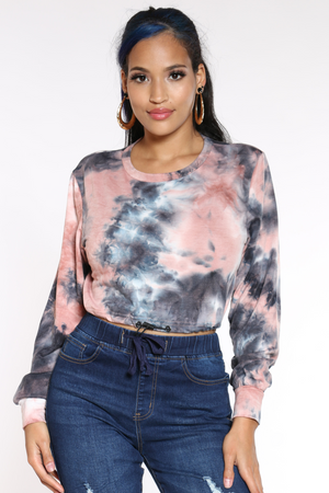 Women's Tie Dye French Terry Top - Blackpink-VIM.COM