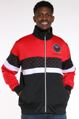 Men's Scuba Colorblock Track Jacket - Red Black-VIM.COM