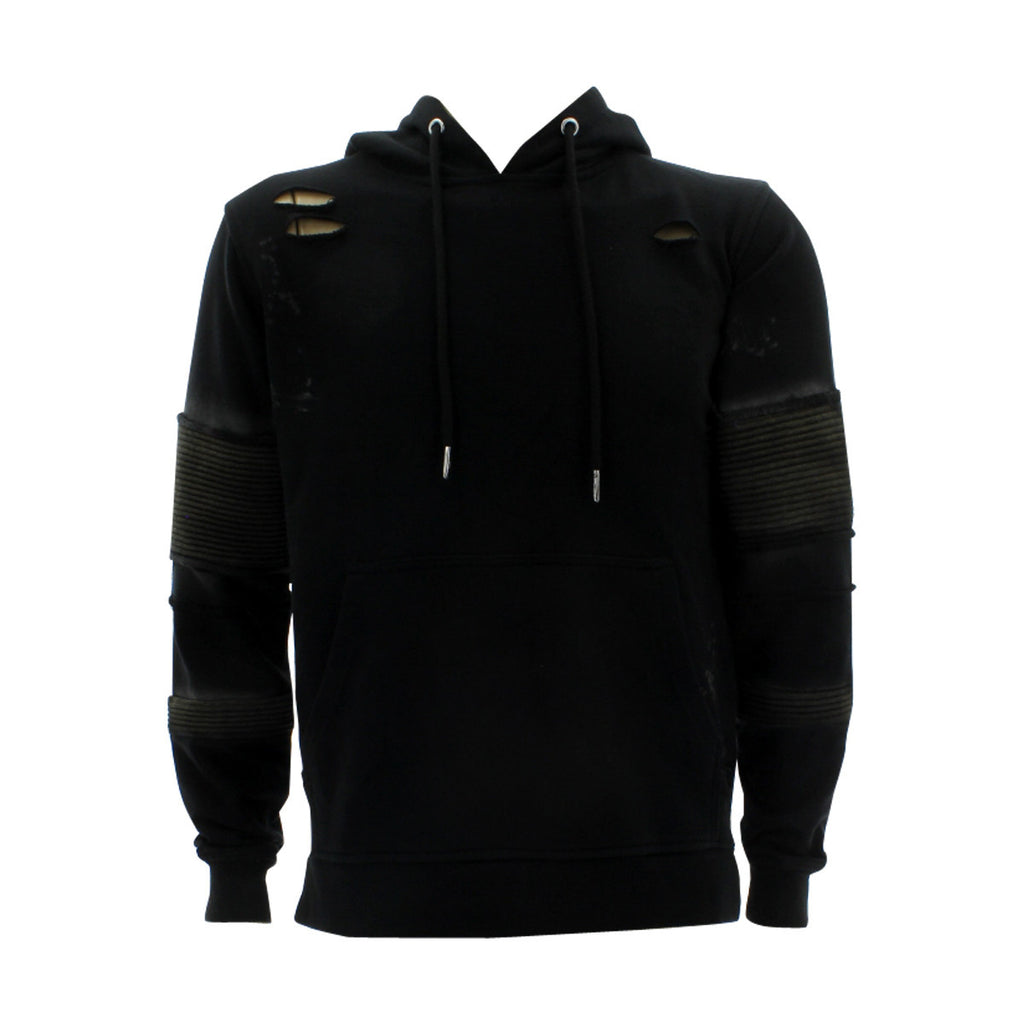 Floose - Men's F.Terry Biker Hoodie Rips Sweatshirt - Black - V.I.M. - 1