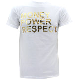 Legends Kings - Men's Gold Foil Money Power Respect T-Shirts - White - V.I.M. - 1