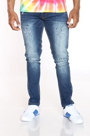 Men's Blasting & Paint Splatter Jean - Blue-VIM.COM
