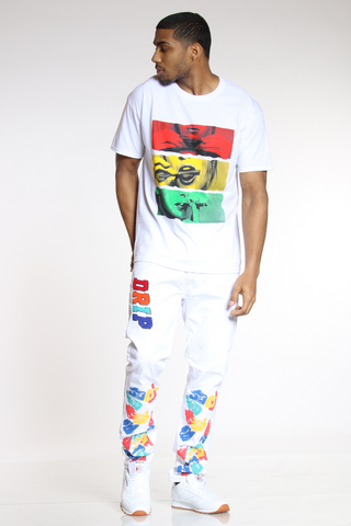 Men's Drip Colorful Skinny Jean - White-VIM.COM