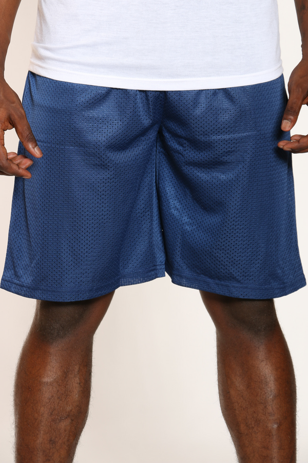 Men's Solid Heavy Mesh Short - Navy-VIM.COM