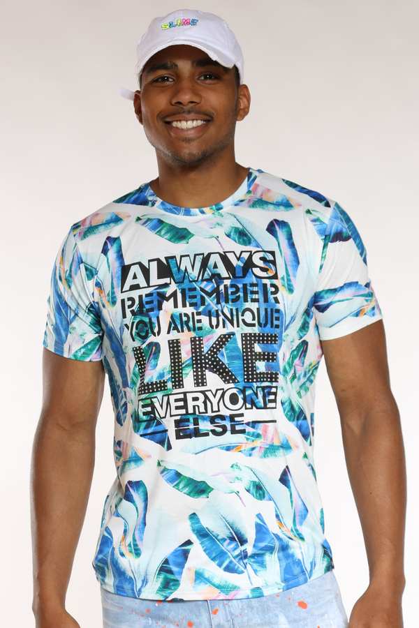 Men's Superior Best Way Floral Tee - Black blue-VIM.COM