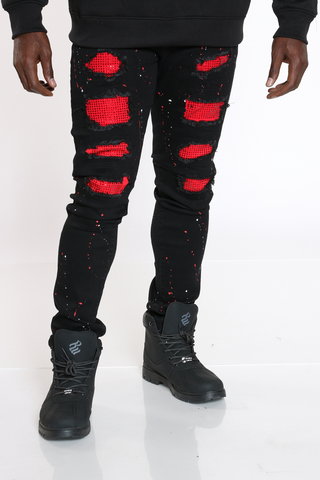 Men's Rhinestone Paint Splatter Jean - Black-VIM.COM