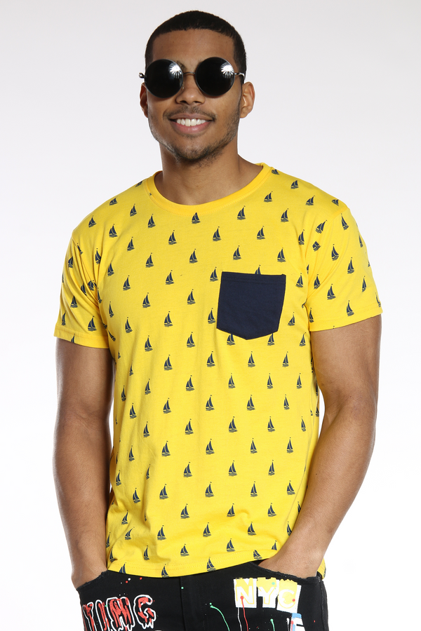 Men's Sunny Boats Printed Tee - Gold Navy-VIM.COM