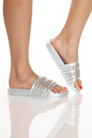 Women's One Band Chain Slide - Silver-VIM.COM