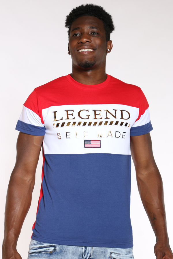 Men's Legend Self Made Color Block Tee - Red-VIM.COM