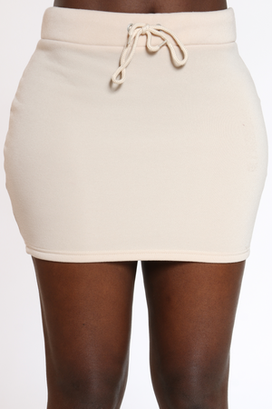 Women's Solid Fleece Skirt - Beige-VIM.COM