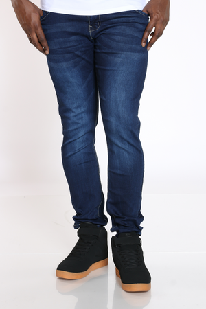 Men's Knit Denim Embroidered Pocket Jean - Black-VIM.COM