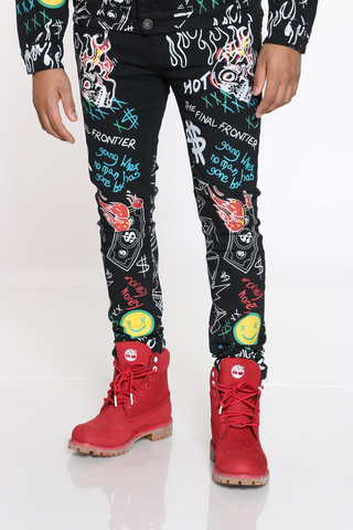 Men's Graffiti Skinny Jean - Black-VIM.COM