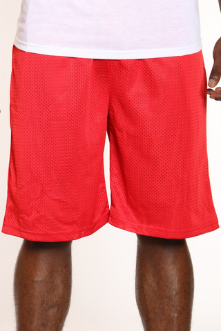 Men's Solid Heavy Mesh Short - Red-VIM.COM