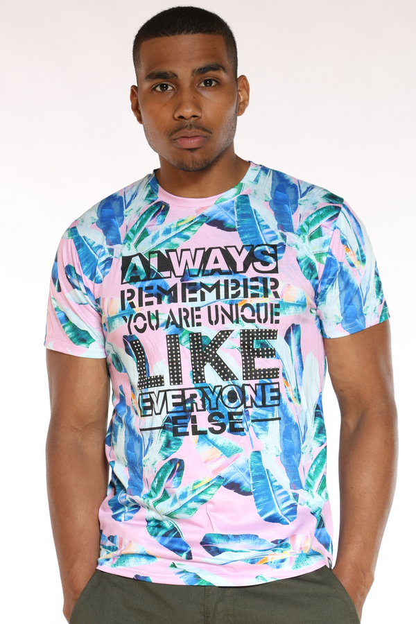 Men's Superior Best Way Floral Tee - Red blue-VIM.COM