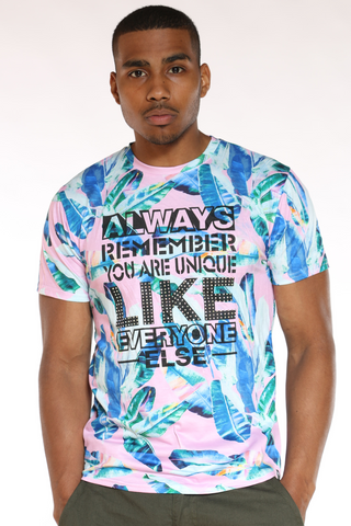 Men's Superior Best Way Floral Tee - Red blue