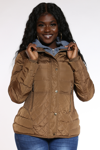 Women's Midweight Short Hood Jacket - Brown-VIM.COM