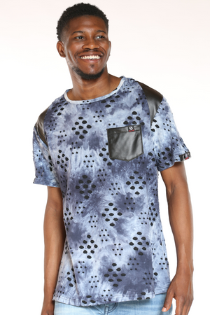 Men's Marled Front Pocket Tee - Blue-VIM.COM