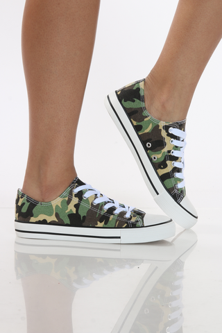 Women's Olivia Low Top Canvas Sneaker - Camo-VIM.COM