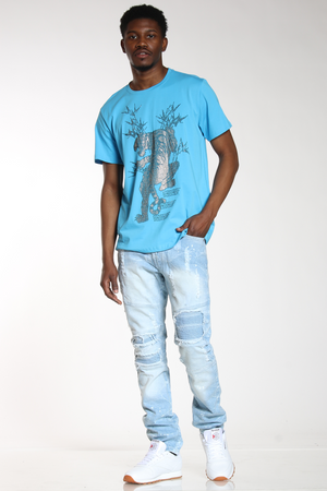 Men's Moto Patches & Rips Acid Wash Jean - Light Blue-VIM.COM