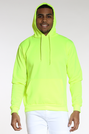 Men's Neon Pull Over Hoodie - Yellow-VIM.COM