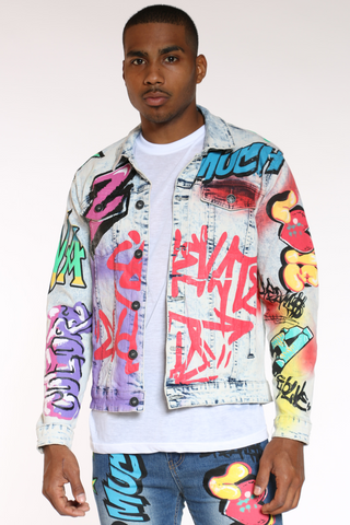 Men's Graffiti Jacket - Light Wash-VIM.COM